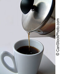 coffee break - pouring coffee in a cup.