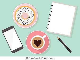Coffee break - Smartphone donuts coffee and sketch book with...