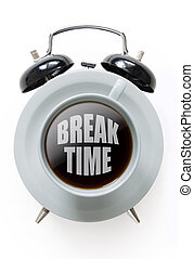 Coffee break time - Alarm clock with coffee cup in the ...