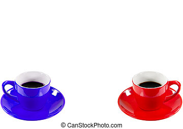 Coffee Break - Two cups of coffee isolated over white ...