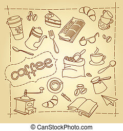 Coffee break vector doodles background - Coffee break...