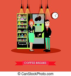 Coffee break vector illustration in flat style - Vector...