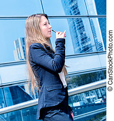 coffee break with an electronic cigarette