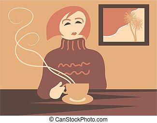 Coffee Break - Woman having a coffee break.