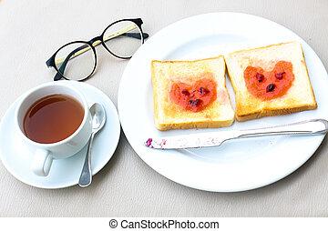 Coffee breakfast set with bread