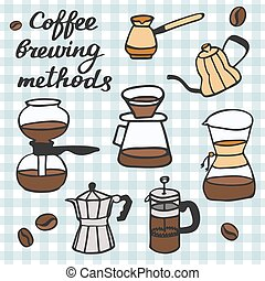 Coffee brewing methods set. Hand-drawn cartoon coffee makers. Doodle drawing.