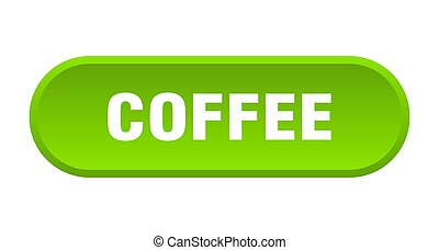 coffee button. coffee rounded green sign. coffee
