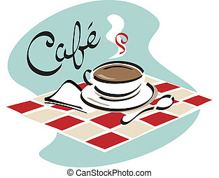Coffee Cafe - A hot cup of coffee ready to sip in a cafe.