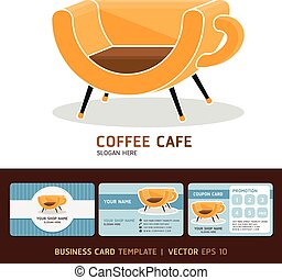 Coffee cafe business cards design.