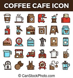 Coffee cafe filled outline icons. Pixel perfect alignment ...