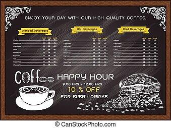coffee cafe menu on chalkboard design template.