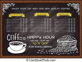 coffee cafe menu on chalkboard design template.