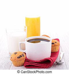 coffee, cake and milk