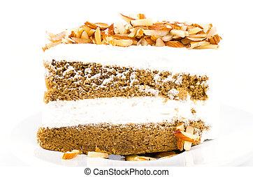 Coffee cake - Coffee almond cake on white background