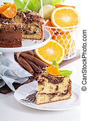 Coffee cake with oranges, nuts and chocolate with crumble ...