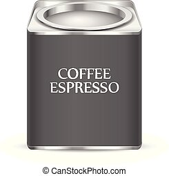 Coffee canister on a white background. Vector illustration.