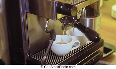 coffee cappuccino from coffee machine in cafe - Barista...