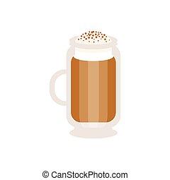 Coffee cappuccino in a glass mug vector Illustration