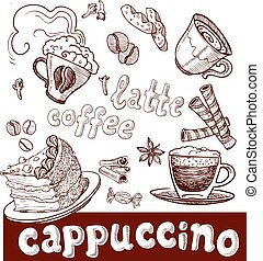 coffee, cappuccino, late and sweets