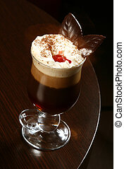 coffee cappuccino with cherry