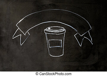 Coffee chalk on black school board background.