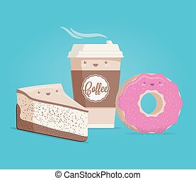 Coffee, cheesecake and donut. Funny cartoon styled vector illustration.