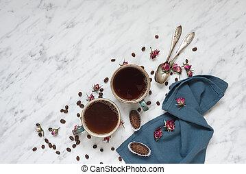 Coffee, chocolate and blue napkin