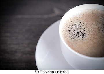 coffee - Coffee background with beans on a wooden background