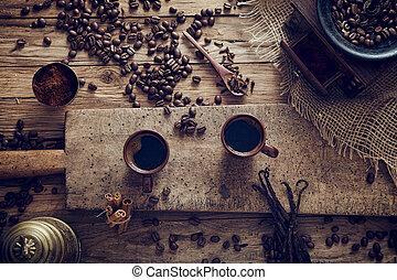 Coffee - Coffee. Cup of turkish coffee with sugar. Vintage...