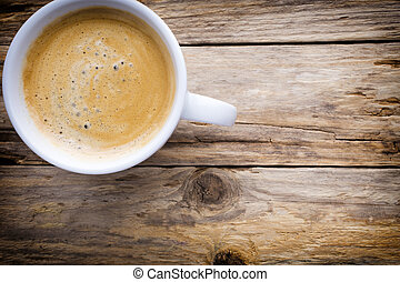 Coffee. - Coffee cup on the wooden table.