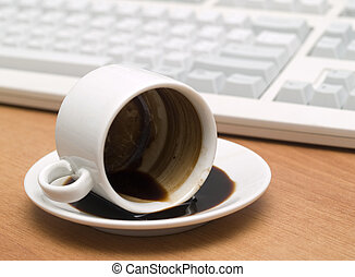 Coffee - coffee mug with inverted on a wooden table against...