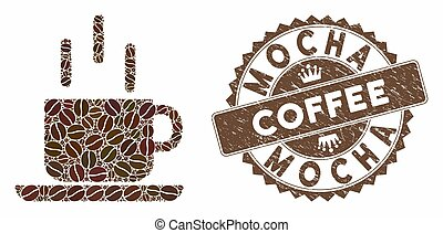 Coffee Collage Coffee Mug with Textured Mocha Coffee Stamp