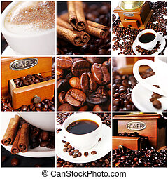 Coffee Collage - Collage of different photos with coffee