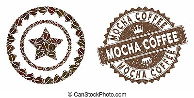 Coffee Collage Quality Stamp with Textured Mocha Coffee Seal