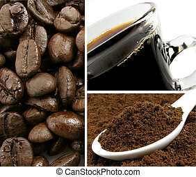 Coffee Collage - Whole bean roasted coffee with ground...
