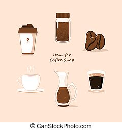 coffee collection flat vector