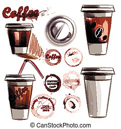 Coffee collection vector set from painted plastic glass with coffee and coffee spots in watercolor style