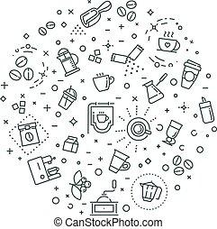 Coffee concept illustration, outline design vector template