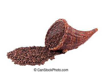Coffee Cornucopia Landscape Side - A wicker cornucopia full...