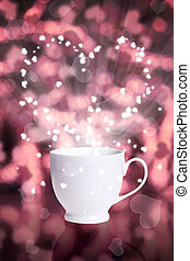 coffee cup against bokeh background with hearts