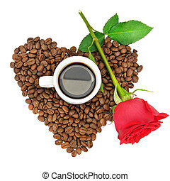 Coffee cup and beans on a white background. Top view.