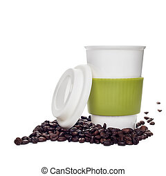 Coffee cup and beans on white background