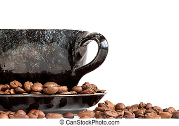 Coffee cup and beans over a white background