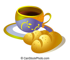 coffee cup and bread