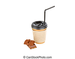 coffee cup and chocolate on a white background