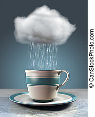 Coffee cup and cloud