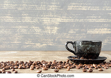 Coffee cup and coffee bean