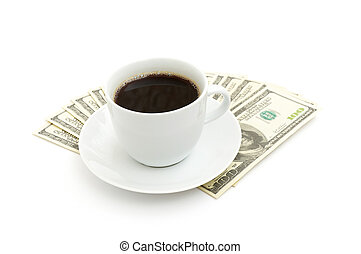 Coffee cup and dollar close up