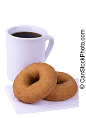 Coffee cup and donuts, isolated on white background.