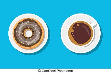 Coffee cup and donuts with chocolate cream.